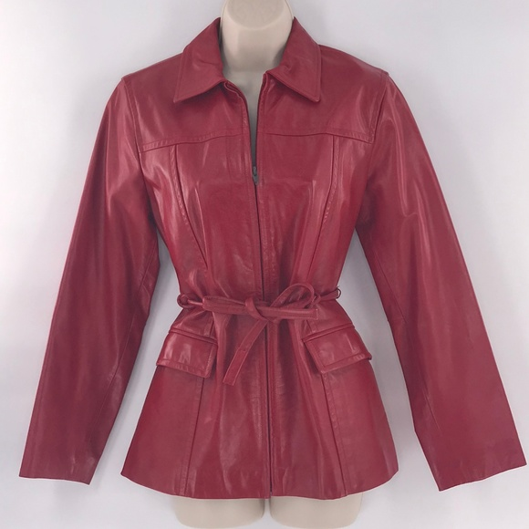 Express Jackets & Blazers - Vintage Red Leather Jacket Small Belt Boho Hippie